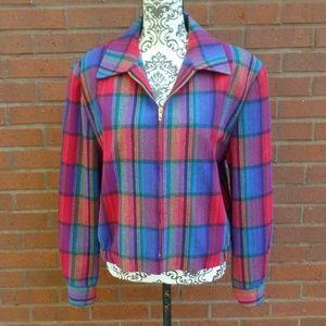 Vtg Pendleton Bright Plaid Wool Bomber Jacket S M